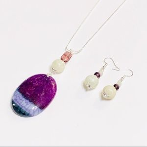 Plum, White, & Teal Green Druzy Agate Necklace Set